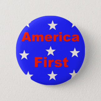 "Red, White, And Blue ""America First"" Design Button"