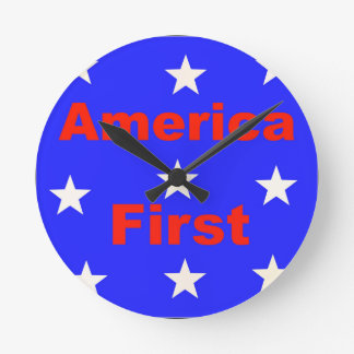 "Red, White, And Blue ""America First"" Design Round Clock"
