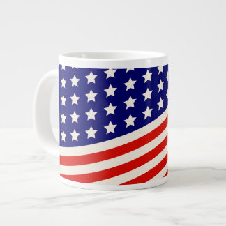 Red White and Blue American Flag Stars and Stripes Large Coffee Mug
