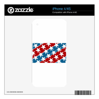 Red White and Blue American Flag Stars iPhone 4S Decal