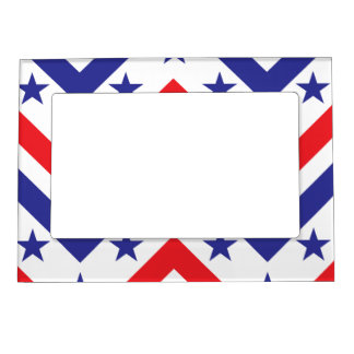 Red White and Blue American July 4 Party Photo Frame Magnets