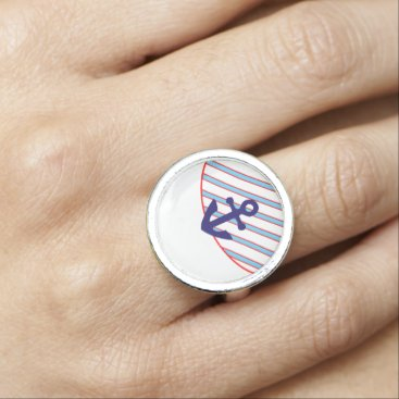 Beach Themed Red, White, and Blue Anchors Aweigh Rings