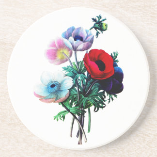 Red White And Blue Anemones by Redoute Sandstone Coaster