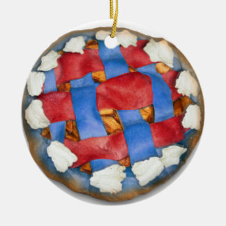 Red White And Blue Apple Pie Double-Sided Ceramic Round Christmas Ornament