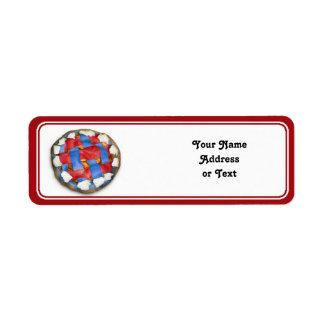 Red White And Blue Apple Pie Custom Return Address Labels