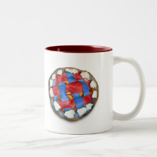 Red White And Blue Apple Pie Two-Tone Coffee Mug