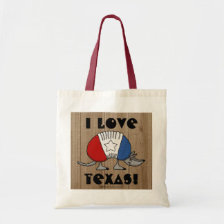 Red, White and Blue Armadillo-I Love Texas! Budget Tote Bag