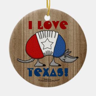 Red, White and Blue Armadillo-I Love Texas! Ceramic Ornament