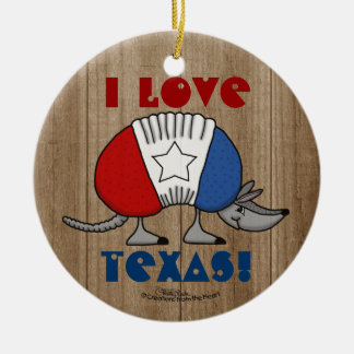 Red, White and Blue Armadillo-I Love Texas! Double-Sided Ceramic Round Christmas Ornament