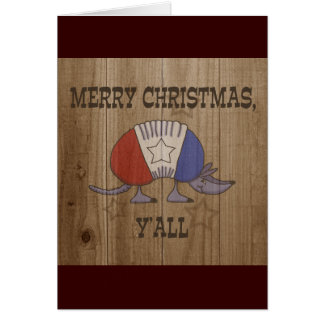 Red, White and Blue Armadillo-Merry Christmas Y'al Card