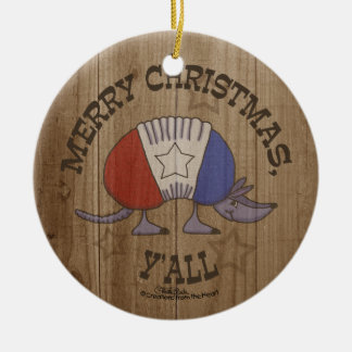 Red, White and Blue Armadillo-Merry Christmas Y'al Ceramic Ornament
