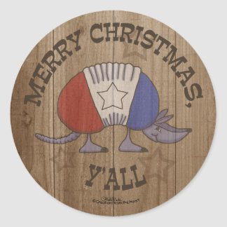 Red, White and Blue Armadillo-Merry Christmas Y'al Classic Round Sticker