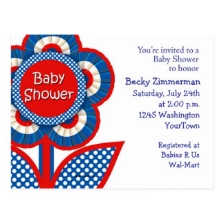 Red, White and Blue Baby Shower Invitation Postcard
