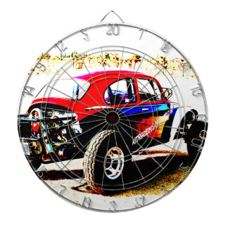 red white and blue baja bug in all categories dartboard with darts