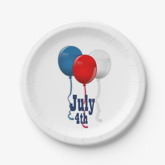 Red White and Blue Balloons, July 4th Paper Plates
