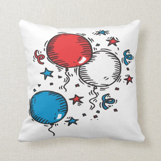 Red white and blue balloons pillows zazzle for Red and blue pillows