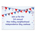 """Red White and Blue Banner Cookout 4.5"""" X 6.25"""" Invitation Card"""
