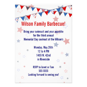 Red White and Blue Banner Invitation