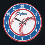 "Red White and Blue Baseball Clock<br><div class=""desc"">Red White and Blue Baseball Clock with personalizable name or remove the name for just the clock!</div>"