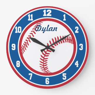 Red White and Blue Baseball Clock