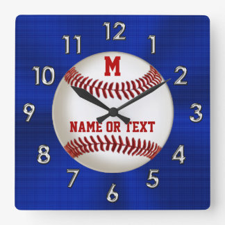 Red White and Blue Baseball Clocks PERSONALIZED