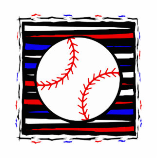 Red white and blue baseball statuette