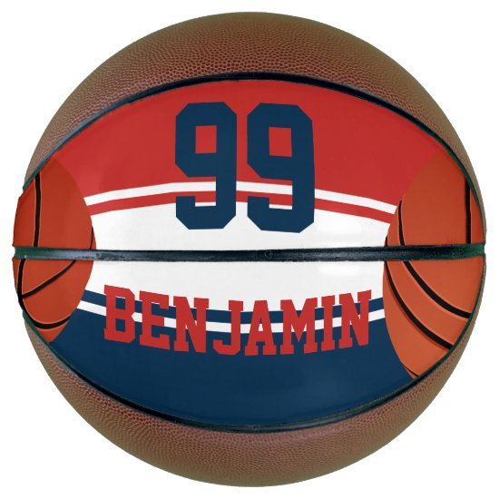 Red white and blue basketball design