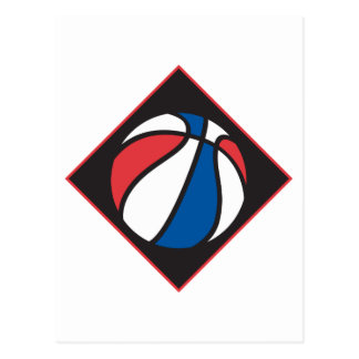 red white and blue basketball postcard