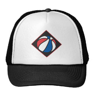 red white and blue basketball trucker hat