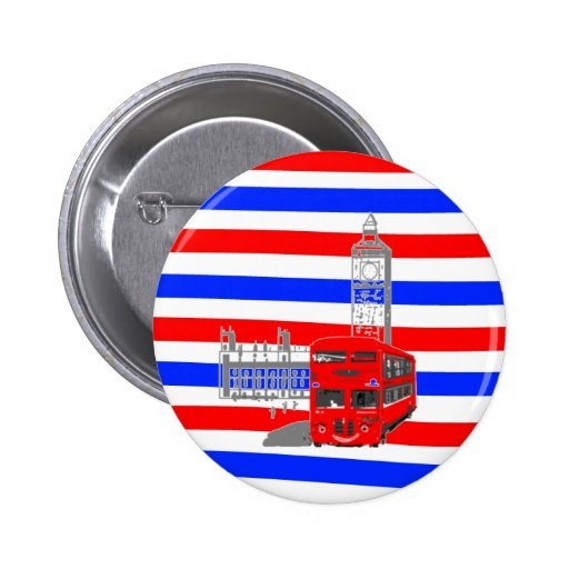 Red white and blue behind a London Bus 2 Inch Round Button