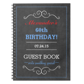 Red White and Blue Birthday Party Guest Book Notebook
