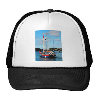 Red, White and Blue Boat at St. Thomas Trucker Hat