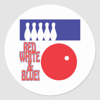 Red White And Blue Bowling Classic Round Sticker