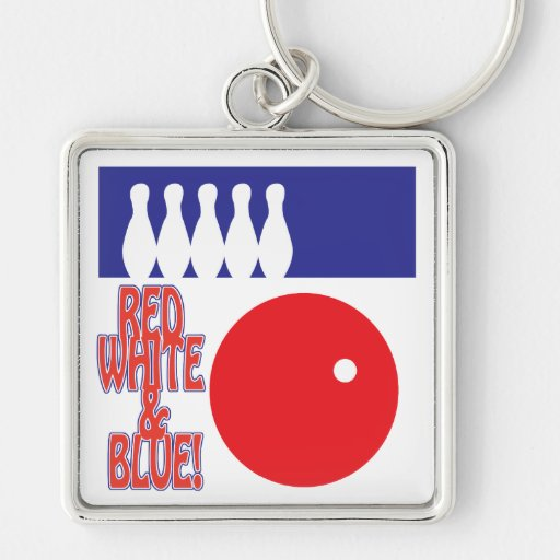Red White And Blue Bowling Key Chains
