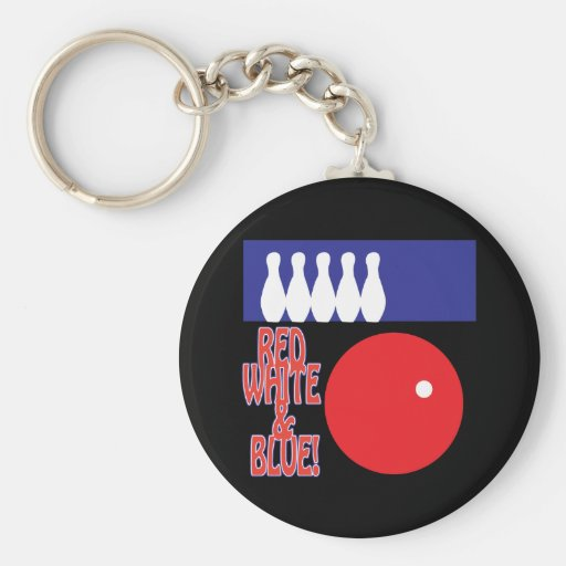 Red White And Blue Bowling Key Chain