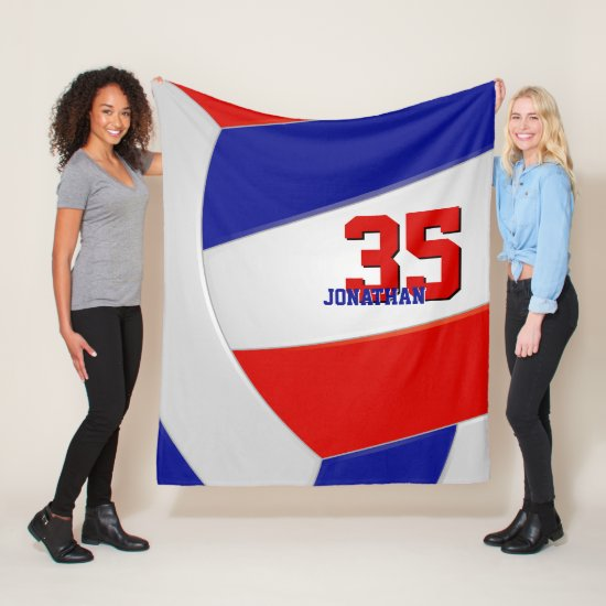 red white and blue boys or girls sporty volleyball fleece blanket