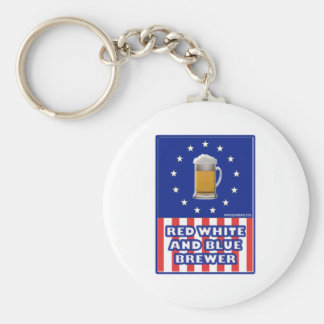 Red White And Blue Brewer Basic Round Button Keychain