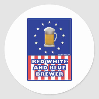 Red White And Blue Brewer Classic Round Sticker