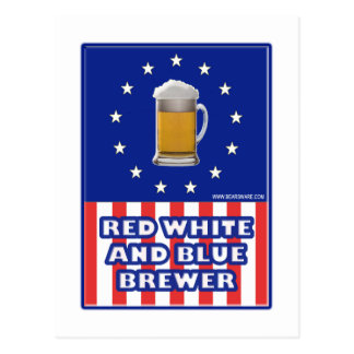 Red White And Blue Brewer Postcard