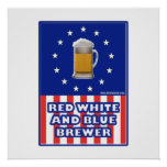 Red White And Blue Brewer Posters
