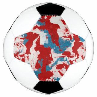 Red, White and Blue Brushstrokes Soccer Ball