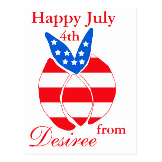 Red, White and Blue Bunny Postcard