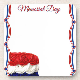 Red White and Blue Bunting Cake Memorial Day Drink Coasters