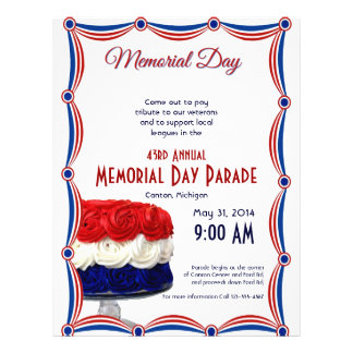 Red White and Blue Bunting Cake Memorial Day Full Color Flyer