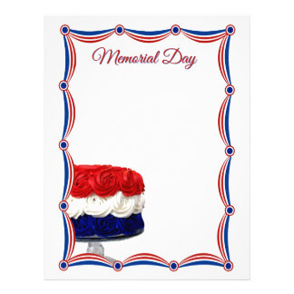 Red White and Blue Bunting Cake Memorial Day Letterhead