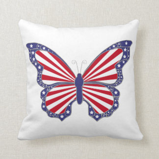 Red White And Blue Butterfly Reversible Pillow