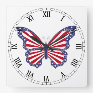 Red White And Blue Butterfly Roman Numerals Clock