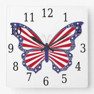 Red White And Blue Butterfly Square Clock