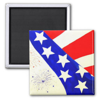 """Red, White and Blue"" by Linda Powell~Original 2 Inch Square Magnet"