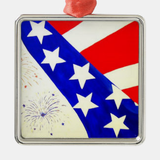"""""""Red, White and Blue"""" by Linda Powell~Ornament Square Metal Christmas Ornament"""